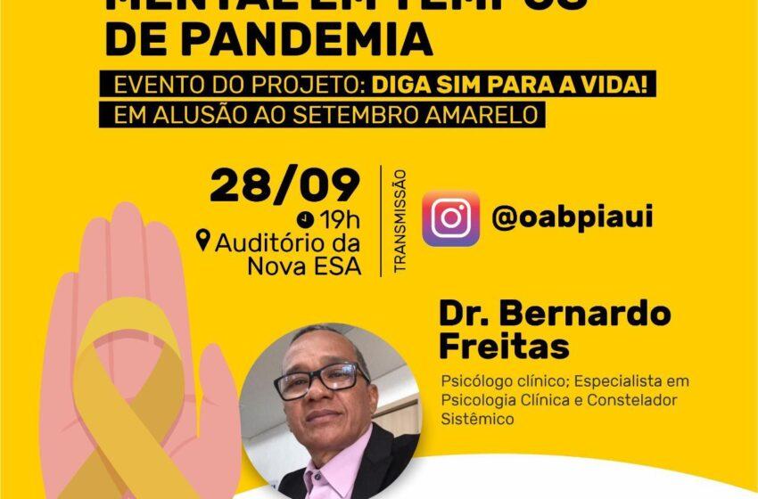 OAB-PI realiza palestra de encerramento do Setembro Amarelo